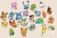 chibi pikachu, chikorita, piplup - Buscar con Google