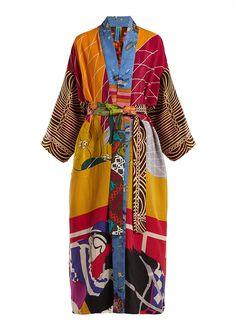 Rianna Nina Vintage Patchwork Silk Kimono Coat Womens Multi - Women Kimono Jackets - Ideas of Women Kimono Jackets Kimono Coat, Silk Kimono, Kimono Cardigan, Hijab Mode Inspiration, Kimono Mantel, Mode Kimono, Patchwork Dress, Kimono Fashion, Up Girl