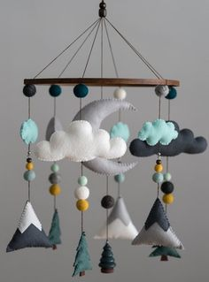 Teal Mustard Mint / Woodland Nursery / Felt Mobile / Mountain Nursery / Felt Moon / Woodland Mobile / Nursery Decor / Monochrome Please read my shop announcement for info on my shop updates :) ****Estimated creation time for all mobiles is weeks unles