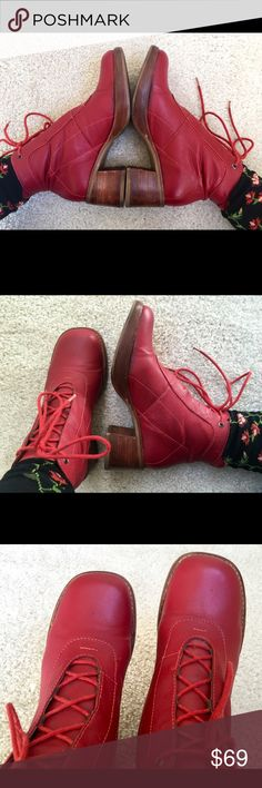 """Exotic Boho Chic Red Leather/wood boots Be UNIQUE with these EXOTIC and beautiful RED leather boots with wood heels. Great condition. Socks are not included. Measurements: Heels 2.5"""", Platforms 0.5-3/4"""" Shoes Ankle Boots & Booties"""