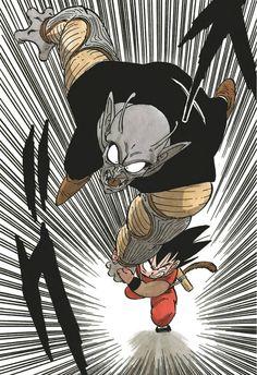 Goku vs King Piccolo #manga #dbz