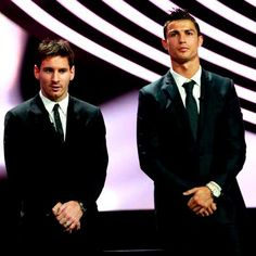 Men In Black (Soccer Version): Lionel Messi and Cristiano Ronaldo. You're Welcome! ;) Cristiano Ronaldo, Messi Vs Ronaldo, Lionel Messi, Men In Black, Good Soccer Players, Man Candy, Real Madrid, How To Look Better, Football