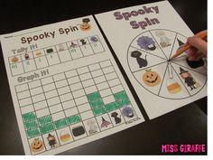 Spooky spin Halloween graphing math center for fun October math activities Halloween Math, Halloween Activities, Halloween Themes, Graphing Activities, Math Games, Third Grade Math, Grade 1, First Grade Worksheets, Kindergarten Math