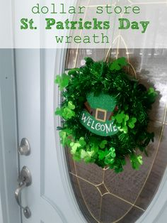 St. Patrick's Day wreath DIY | Make a wreath just like this with all items found at the dollar store.  Get the DIY at CrazyDiyMom.com