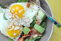 Crisp bacon combines with the bright flavor of spinach and tomatoes in this unique recipe. The addition of eggs, avocado and almonds tops up the protein and healthy fat content. You can replace the bacon with salami if you like. If you're tight on time in the morning, feel free to cook the bacon, reserve … View Recipe →