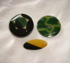 3 Vintage Green Celluloid Buttons  Tight-Tops  one sew by marias9
