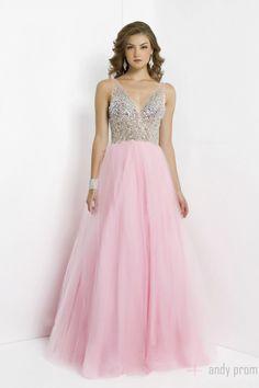 A-line V-neck Tulle V-back Floor Length Natural Waist Prom Dress