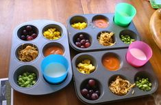 "Muffin Tin Meals! These work great for picky eaters. Set up a mini/fingerfood ""buffet"" and have them choose which foods they want..  Ex: grapes carrot sticks apple slices cheese cubes dips peanut butter crackers diced meat berries nuts dry cereal"