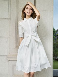 SheIn offers White Sheer Shoulder Bead Tie-waist Dress & more to fit your fashionable needs. Stylish Dresses, Elegant Dresses, Shirtwaist Dress, White Dresses For Women, Plain Shirts, Denim Shirt Dress, Sheer Dress, Dress Long, Knee Length Dresses