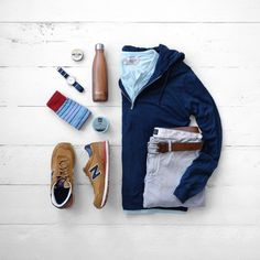 All of the Fall Essentials   1/4 Zip Hoodie with a Henley   New Balance Sneakers   Swell Water Bottle   Dead Soxy Socks   Vaer Adventure Watch   JCrew Chinos