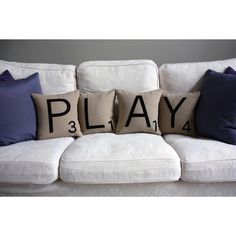 "Letter PLAY Pillow Set.  Technically not a ""deck"" item, but I would love these on my deck furniture.  I love anything ""Scrabble""."