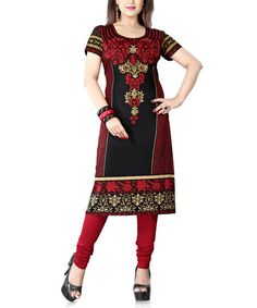 Black & Red Abstract Tunic - Plus Too