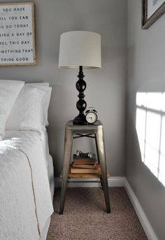 This is a great idea for an inexpensive nightstand. Use an industrial stool, add an easy DIY wooden shelf and you have exactly what you need to add style and function to a small room.
