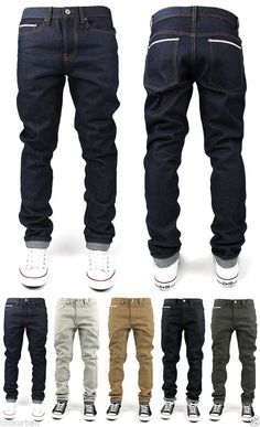 KAYDEN.K Men's Selvedge Tape Roll Up TAPERED FIT Raw Denim Jeans Size 30 - 40 #KAYDENK #TAPEREDFIT