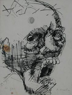 Antonio BONILLA : El Grito ; circa 1983 ; tinta y lápiz sobre papel ; 21,5cm x 16,6cm ; coleccion MDAA (adquirido en 1999 del artista)