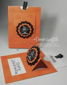 Spooky Pop up slider cards - Dawn Griffith - Video Tutorial Card Making Tutorials, Card Making Techniques, Fancy Fold Cards, Folded Cards, Pop Up Cards, Cool Cards, Thanksgiving Cards, Holiday Cards, Tarjetas Pop Up