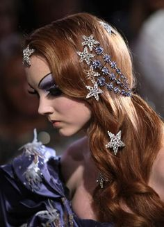 Lily Cole, Christian Dior Haute Couture Fall/Winter 2007. Star hair ornaments
