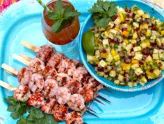 ... Shrimp served with Spicy Mango Pineapple Rhubarb Salsa & Rhubarb Mango