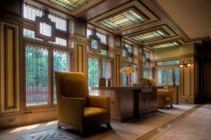 Meyer May House, designed by Frank Lloyd Wright in his famed Prairie Style architecture and design - Interior