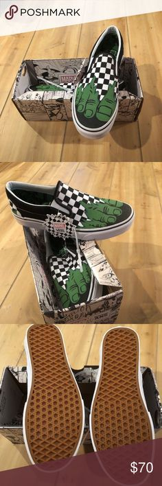 RARE Vans off the Wall Slip On Marvel Hulk Shoes 9 RARE 🔥Vans Off The Wall  Classic Slip-On Marvel Hulk Checkerboard Size 9 Men s Vans Shoes Sneakers e551b3452