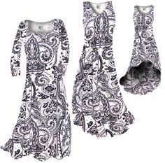 Customize White & Black Persian Paisley Slinky Print Plus Size & Supersize Standard or Cascading A-Line or Princess Cut Dresses & Shirts, Jackets, Pants, Palazzo's or Skirts Lg to 9x