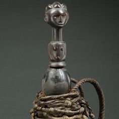 Ritual Calabash with Full Figure and Black Rope. Find this and other collectibles at CuratorsEye.com.
