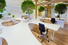 Trees and plants built into desks absorb sound and make the air quality better