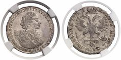 Poltina. Russian Coins. Peter I. 1689-1725. 1723. 14,1g. Bit 1044. R! Choice EF. Price realized 2011: 5.000 USD.