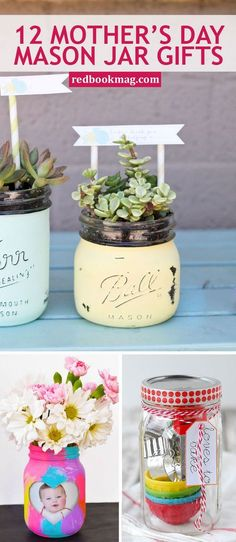 MOTHER'S DAY MASON JAR GIFT IDEAS: If you want to give her something that feels homemade and actually serves a purpose, you can't go wrong with these easy and adorable presents. Here you'll find easy mother's day gift ideas, crafts, DIY projects, and tutorials she'll love! Click through for the brilliant gift ideas like homemade scrubs, baking sets, picture frames, succulent pots, and more!