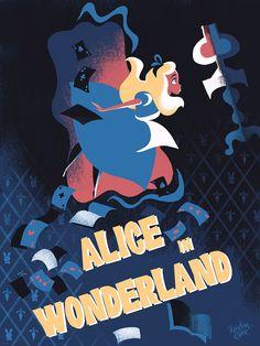 Alice in Wonderland by Lorelay Bove - Home of the Alternative Movie Poster -AMP- Lewis Carroll, Alice In Wonderland Artwork, Chesire Cat, Disney Artists, Downtown Disney, Walt Disney, Disney Posters, Alternative Movie Posters, Adventures In Wonderland