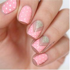 Pink polka dot negative space nail design