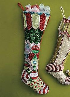 Featuring hand-stitched sequins, the Sequin Ornament Stripe Stocking adds a little sparkle and dazzling beauty to your Christmas display.