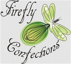 Firefly Confections logo. Note the light of the firefly is a whisk. Cute!