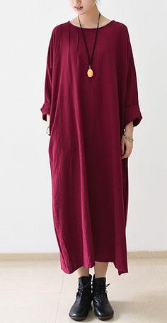 Burgundy bracelet sleeve linen dresses oversize maxi dresses plus size