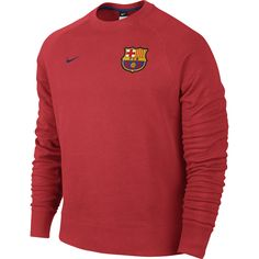2014-2015 Barcelona Nike AW77 LS Crew Sweatshirt (Red)   d9d79536d8b