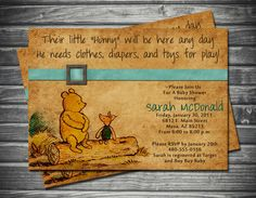 Vintage Winnie the Pooh Baby Shower Invitation by Sassygfx on Etsy