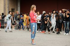 The NYFW Street Style Looks That Truly Stunned #refinery29  http://www.refinery29.com/2014/09/73987/new-york-fashion-week-2014-street-style-photos#slide68  A more fashion-forward example of what you wore every day in high school.