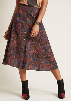 #ModCloth - #Pepaloves Pepaloves Rally for Retro A-Line Midi Skirt in L - AdoreWe.com