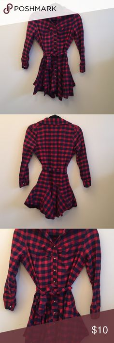 Flannel shirt dress Flannel shirt dress. It is on the shorter side. Looks best with leggings or tights. Never worn, great condition. Fits around a size medium. Dresses
