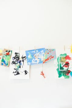 kid's artwork wall  Interior Design : Kendall Simmons | Photography : Catherine Truman Read More on SMP: http://www.stylemepretty.com/living/2016/03/28/6-steps-to-designing-a-playroom-to-grow-with-your-kiddos/