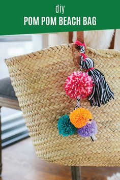 Show off your trendy style with this crafty DIY project. This DIY Pom Pom Beach Bag is so simple to make yourself, and it will stylishly hold all of your summer vacation  essentials for a day at the shore like a healthy snack, extra sunscreen, and supply of Depend® incontinence products! Click to see the quick and easy tutorial.
