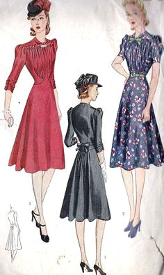 1930s Misses Day Dress Or Cocktail Dress Vintage Sewing Pattern, with Flaring in back and Fitted Bodice, Simplicity Pattern 3241 Bust 30""