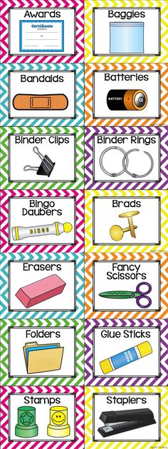 96 Illustrated Supply Labels to decorate your classroom. Also includes a Teacher's Toolbox set with illustrated pictures. Lots of editable labels included as well! Comes in chevron, polka dots, chalkboard and many more themes!