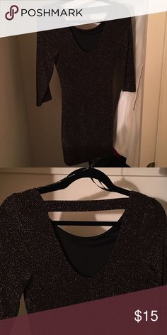 Black and Gold Dress Open back mini dress in black fabric with golden thread detailing. Forever 21 Dresses Mini