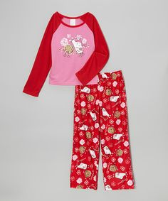 Take a look at this Pink   Red Yummy Milk   Cookies Pajama Set on zulily 8c722bdeb7ca