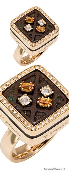 21 Grammi Quilt - Ring in yellow gold, diamond, orange sapphires and antique African weight from Ghana