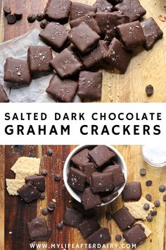 Dark Chocolate coats crisp graham crackers and is sprinkled with flaky sea salt in this Chocolate Covered Graham Crackers with Sea Salt recipe. This easy, homemade version of Trader Joe's Dark Chocolate Covered Honey Grahams with sea salt is a dairy-free treat perfect for any occasion. Chocolate Snacks, Dairy Free Chocolate, Decadent Chocolate, How To Make Chocolate, Delicious Chocolate, Chocolate Recipes, Delicious Desserts, Chocolate Covered Graham Crackers, Honey Maid Graham Crackers