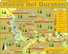 Mapa de las Hoces del Rio Duraton Sepulveda Segovia Castilla y Leon
