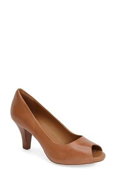 19c6398f8e2f Clarks®  Florine Portia  Peep Toe Leather Pump (Women) available at   Nordstrom
