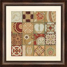 Malanta Knowles 3043 Pistachio Patchwork II Transitional Architectural Framed Wall Art / Wall Decor PPG-3043
